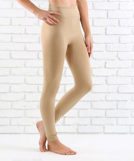 b68e7a2abf34be Contagious Beige Fleece-Lined Leggings - Women | Zulily
