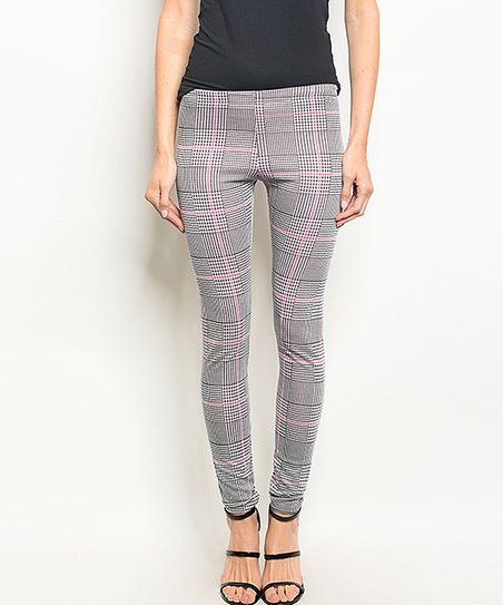 8c98930f01c99 Forever Lily Black & Pink Plaid Leggings - Women | Zulily