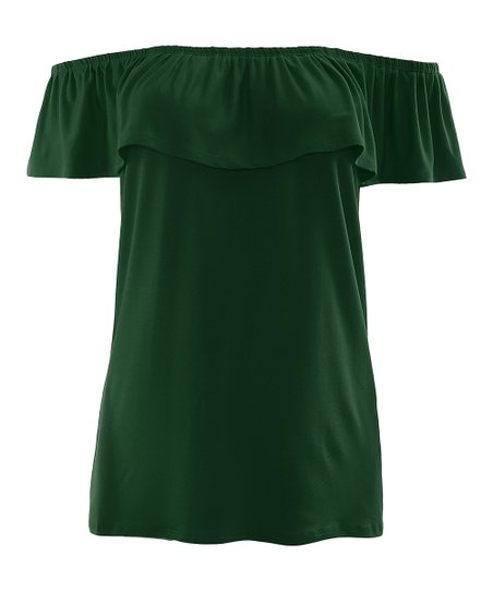 ea05f8731ccbf6 love this product Kelly Green Ruffle Off-Shoulder Top - Women   Plus
