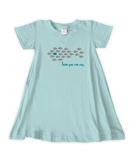 15ca7a0690261 love this product Light Aqua 'Swim Your Own Way' Swing Dress - Toddler &  Girls