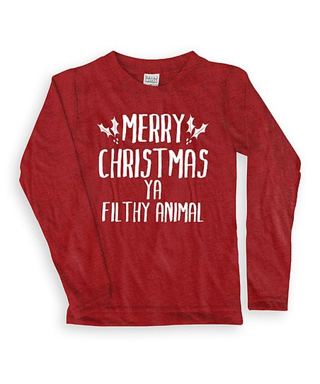 Merry Christmas Ya Filthy Animals.Red Merry Christmas Ya Filthy Animal Long Sleeve Tee Toddler Kids