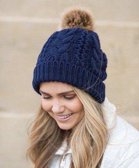 dc942cf68de love this product Navy Cable-Knit Faux-Fur Pom-Pom Beanie - Women
