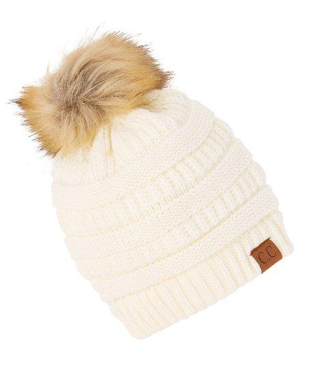 b121970c13aed3 C.C® Ivory Knit Faux Fur Pom-Pom Beanie - Women | Zulily