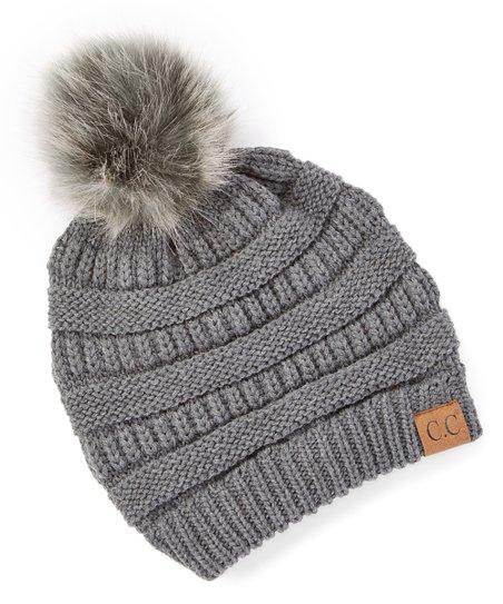 C.C® Dark Gray Knit Faux Fur Pom-Pom Beanie - Women  4e0b01869