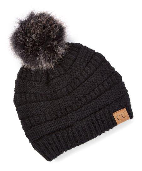 C.C® Black   Gray Knit Faux Fur Pom-Pom Beanie - Women  d91c00b8d