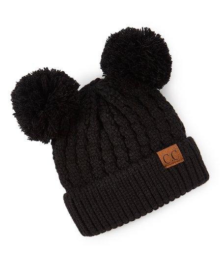 79e7b922b3c C.C® Black Knit Double Pom-Pom Beanie
