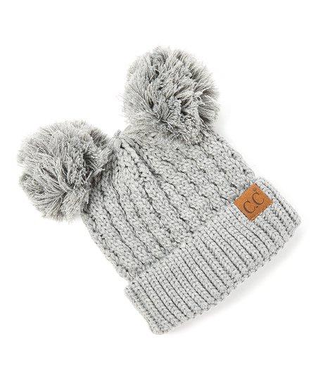 b890ca201814c8 C.C® Light Gray Knit Double Pom-Pom Beanie   Zulily