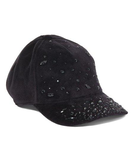 Juicy Couture Black Embellished Velour Baseball Cap  7aee4417f9f