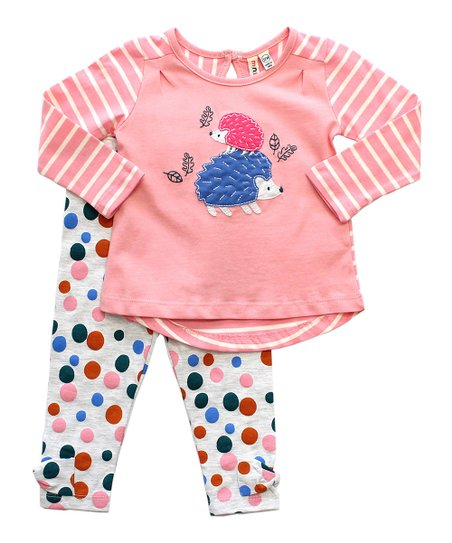 7ce76f0cbfe67 CR Kids Light Pink Stripe Hedgehog Appliqué Tee & Polka Dot Leggings ...