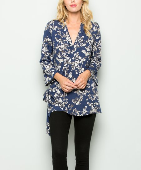 1ad69ac9a2b7 Acting Pro Navy Floral Bell Sleeve Wrap Top - Women | Zulily