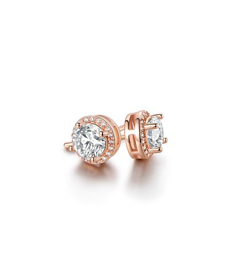 edf2f9412 Barzel 18K Rose Gold-Plated Round Stud Earrings With Swarovski ...