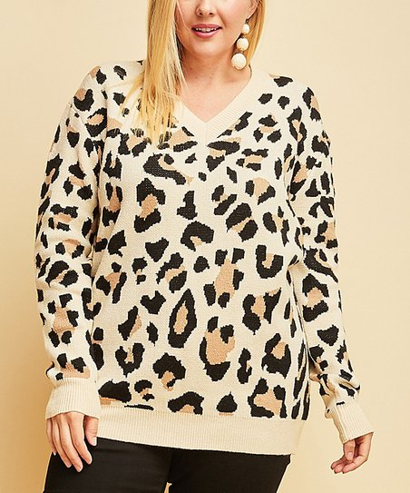 3ef6e0325bbb love this product Taupe Leopard V-Neck Sweater