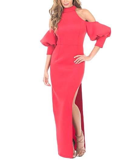 66356934b19b6 love this product Red Puff-Sleeve Cold-Shoulder Dress - Women