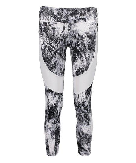 345863dc42d501 love this product Black & White Marble Mesh Leggings - Women