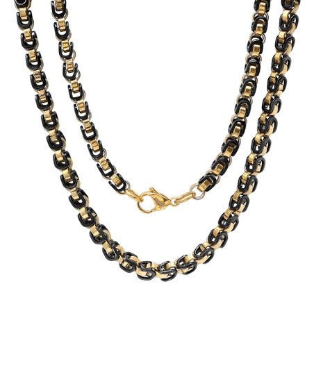 e5647446493405 Steel Time Black & 18k Gold-Plated Byzantine Chain Link Necklace ...