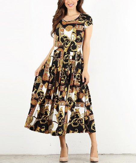daa22a211d9c Pretty Young Thing Black Floral Cap-Sleeve Midi Dress - Women   Zulily