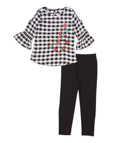 0eac5ff2d096b love this product Black & White Gingham Floral Three-Quarter Sleeve Top &  Leggings - Girls