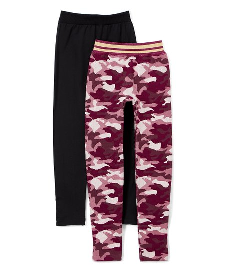 c79dc689513d0 One Step Up Black & Pink Camo Leggings - Girls | Zulily