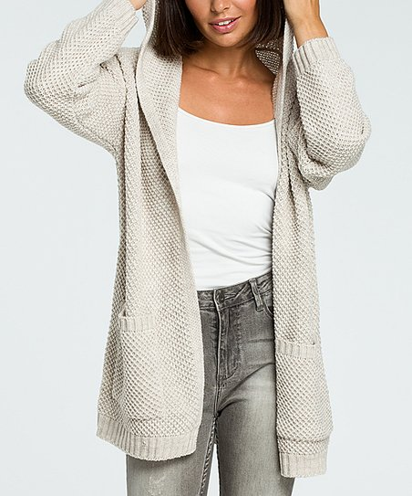 BeWear Beige Open Front Hooded Knit Cardigan Women