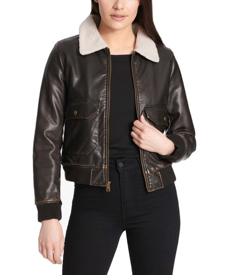 Levis Dark Faux Leather Bomber Jacket - Women  c7c1fbd1e