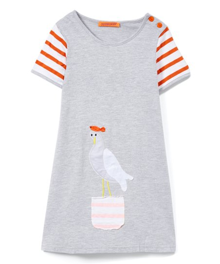 12025e0ecb5d4 love this product Gray & Orange Bird Stripe T-Shirt Dress - Infant, Toddler  & Girls