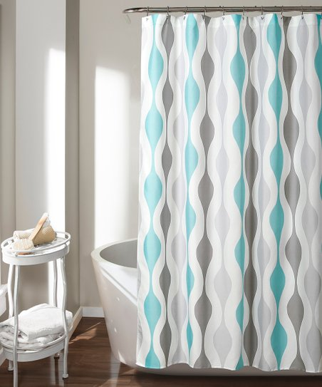Love This Product Blue Gray Geometric Shower Curtain