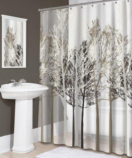 Beige Forest Shower Curtain