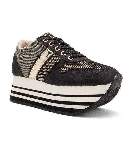 850f8ef53d4 Qupid Black   Gold Skywalk Platform Sneaker - Women