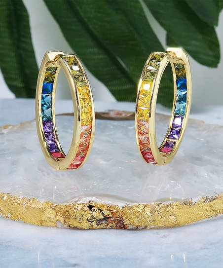 8a3f7d8b1 Golden Moon 14k Gold-Plated Channel-Set Hoop Earrings With Swarovski ...