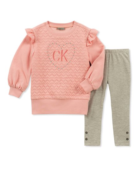 16145bef61426 love this product Pink Ruffle-Sleeve Pullover & Tan Side-Button Leggings -  Infant
