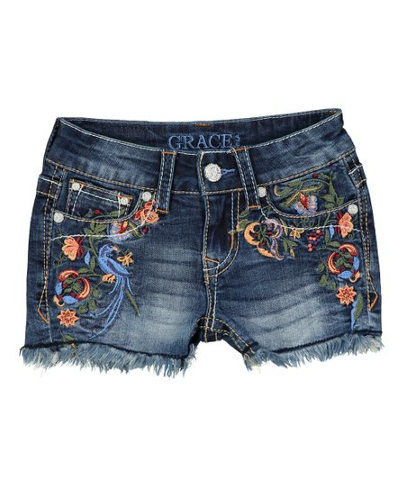 f8bfb92835 love this product Medium Wash Floral Embroidered Unfinished Hem Denim Shorts  - Girls