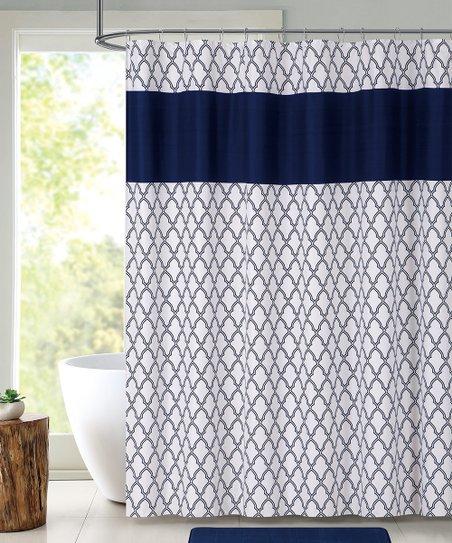 Love This Product Navy White Quatrefoil Shower Curtain Set