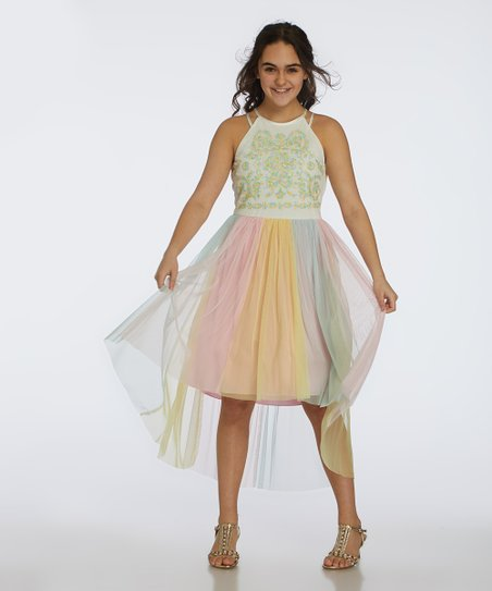 Speechless White Pink Embroidered Hi Low Dress Girls Zulily