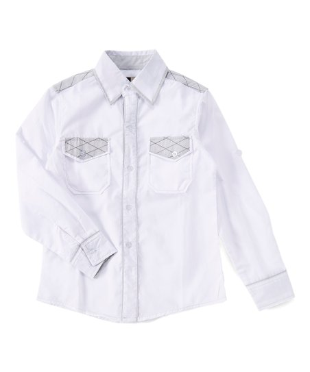 1d34069d3398ea love this product White Plaid Button-Up - Boys