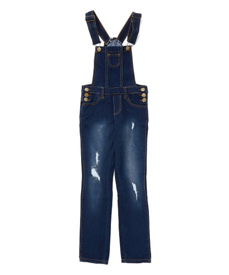 various design new cheap finest selection Cutie's Fashions Dark Blue Distressed Denim Overalls - Girls