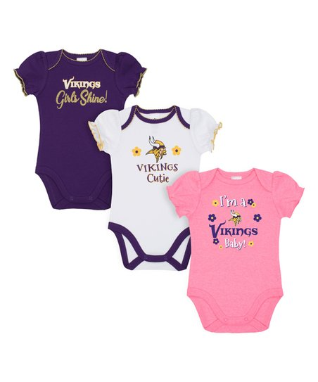 separation shoes 1a2b1 3f26d Gerber Childrenswear Minnesota Vikings Pink & White Bodysuit Set - Infant