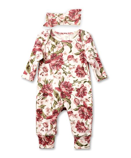 Tesa Babe English Rose Playsuit   Headband - Newborn   Infant  f9ab704b85e