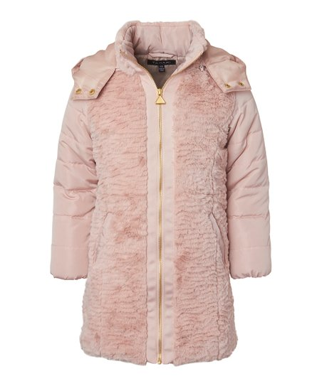 6378b88cc love this product Rose Faux Fur-Trim Hooded Puffer Coat - Girls