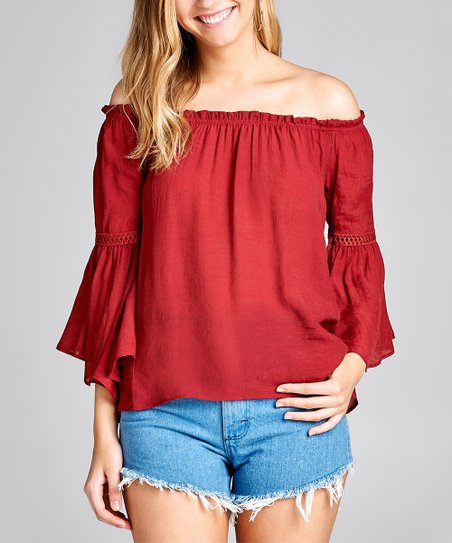 3f0bcf50008e7 love this product Dark Red Lace-Trim Bell-Sleeve Off-Shoulder Top - Women