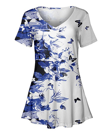 06c9d26e2b4 love this product White & Blue Butterfly Short-Sleeve Swing Tunic - Women &  Plus