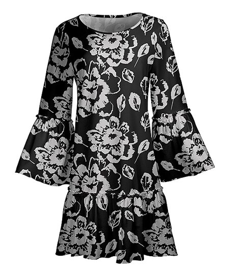 a71b5b3e24 love this product Gray   Black Floral Bell-Sleeve Ruffle-Hem A-Line Dress -  Plus
