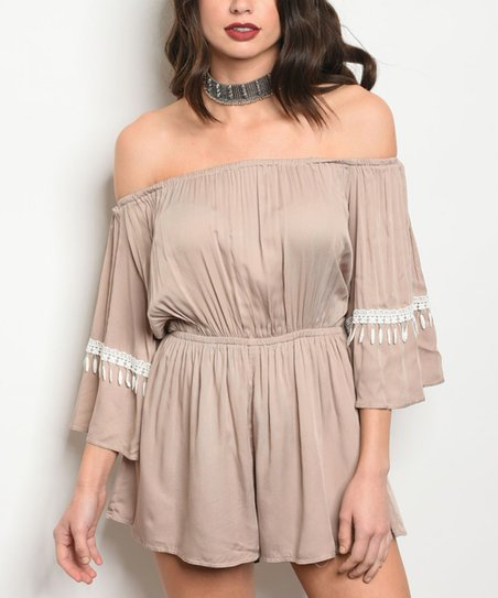356902346d0 love this product Taupe   White Lace-Accent Off-Shoulder Romper - Women