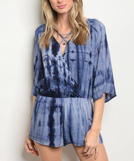 182124616aa love this product Navy Tie-Dye Crisscross Romper - Women