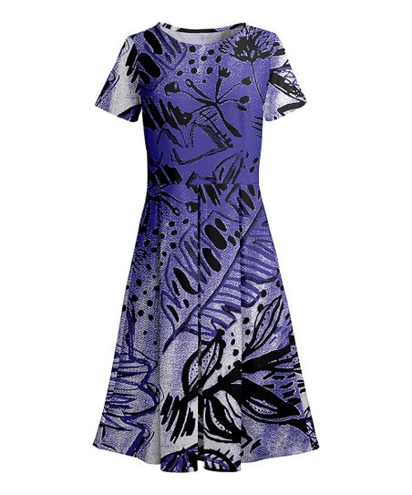 96dfce611f73 love this product Purple & Black Floral Fit & Flare Dress - Women & Plus