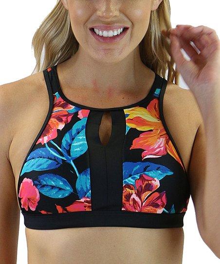 c2f53f57f776b Heat Swimwear Black Floral High-Neck Crop Contemporary Bikini Top ...