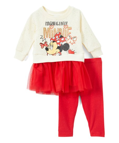 d81d5b994819b love this product Minnie Mouse White 'Magnificently Minnie' Tunic & Red  Leggings - Infant