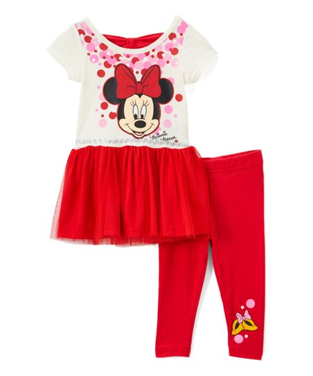 593c0d8e7b783 love this product Minnie Mouse Off-White Tunic & Red Leggings - Infant