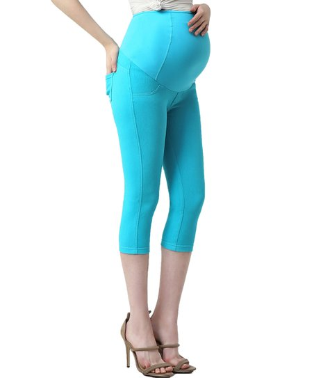 81d8f5c60482a8 Kimi + Kai Maternity Aqua Blue Melody Maternity Capri Leggings   Zulily