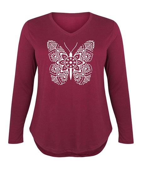 4a440a83 Instant Message Plus Wine Mandala Butterfly Long-Sleeve Tee | Zulily