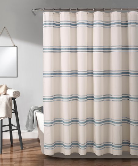 Blue Farmhouse Stripe Shower Curtain